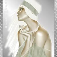 Девушка на белой шляпке