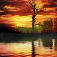 Восход зеркало сверху воде